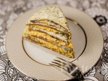 Печеночный пирог с прослойкой из моркови