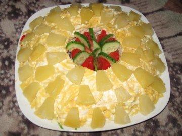 Ананас курица салат слоями рецепт пошагово