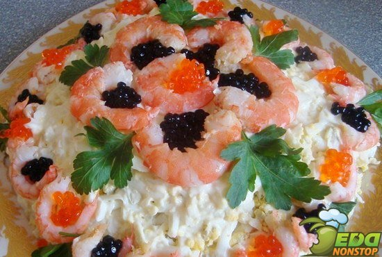 Пошаговый рецепт салата с креветками и кальмарами 5