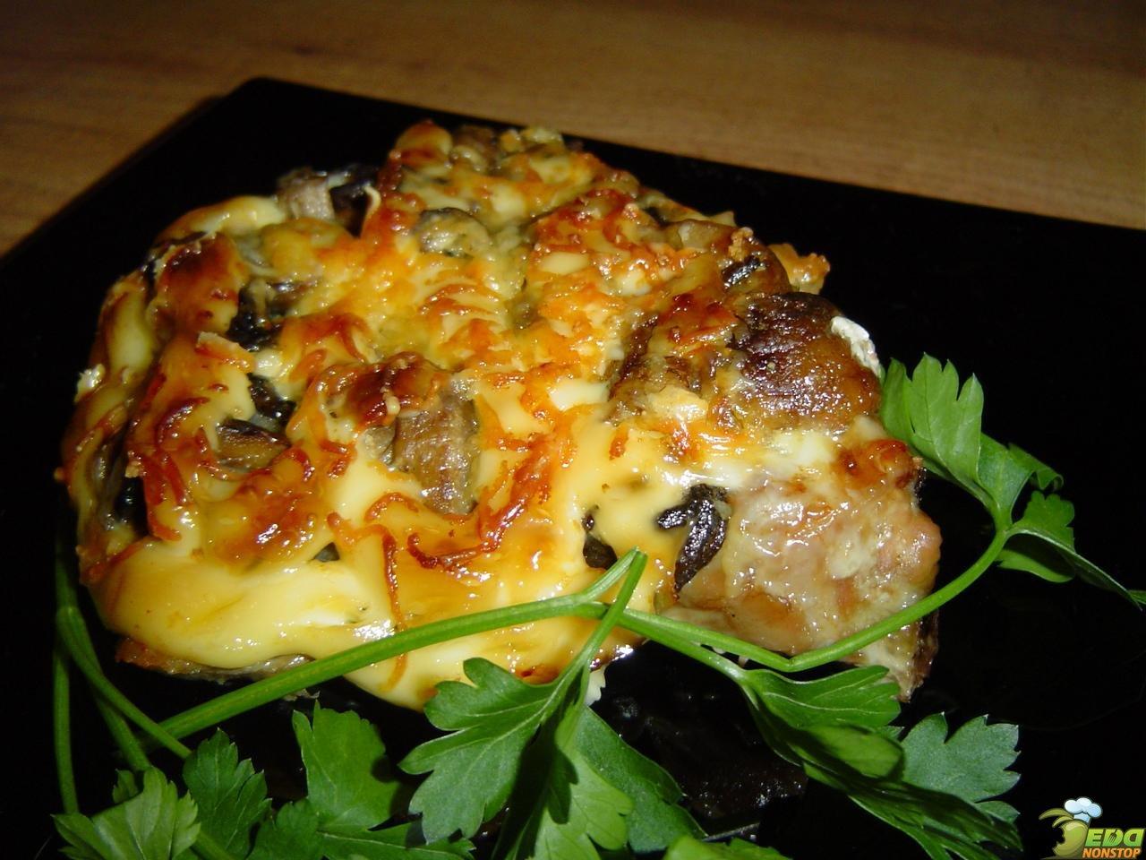 Мясо по-французски с грибами пошаговой