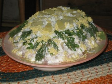 салат с ананасом слоями